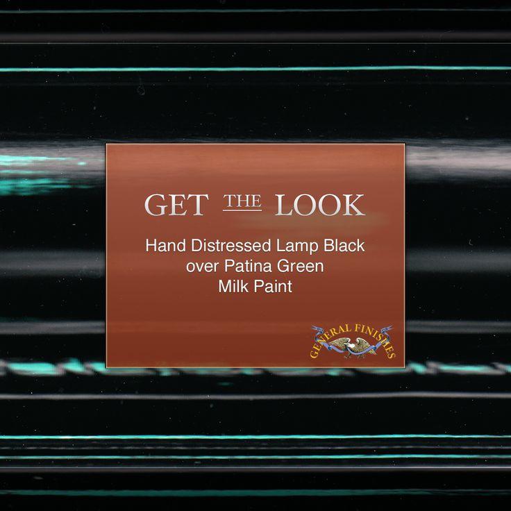 Dark Verdigris Green Ornate Pedestal Light: Get The Look: General Finishes Lamp Black Milk Paint Over