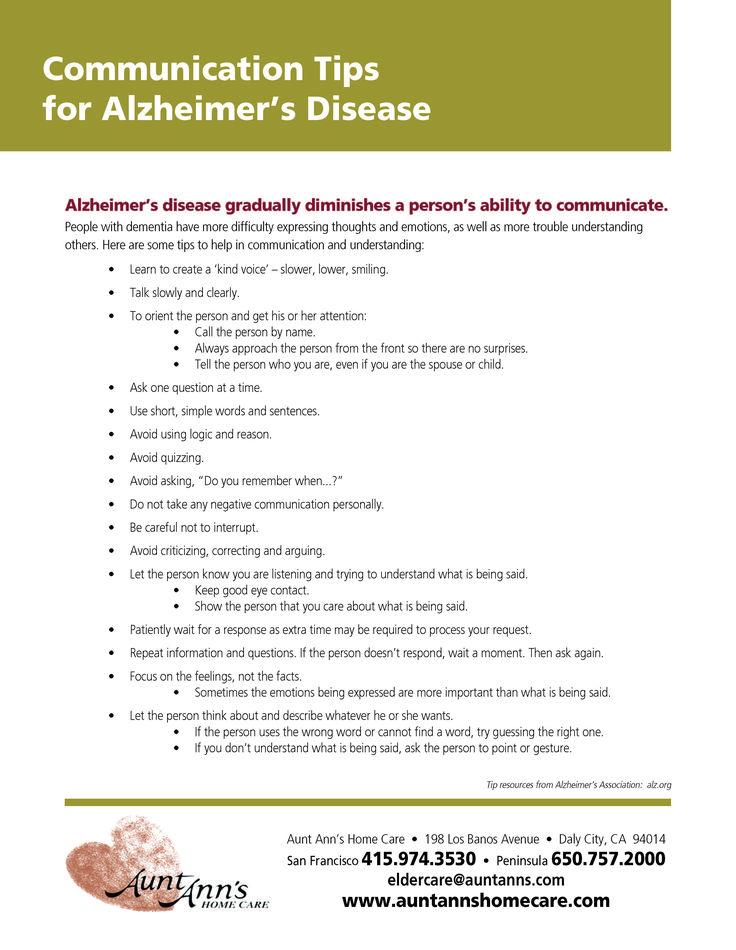 Communication Tips for Alzheimer's Disease