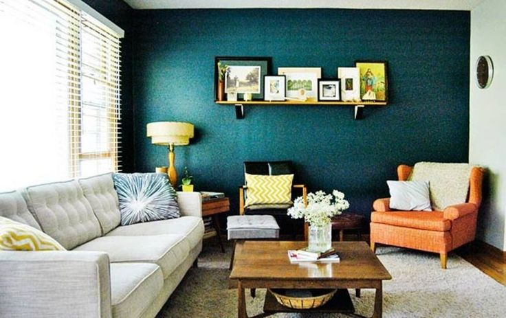 Living room paint ideas with accent wall ottoman as coffee for Living room navy walls