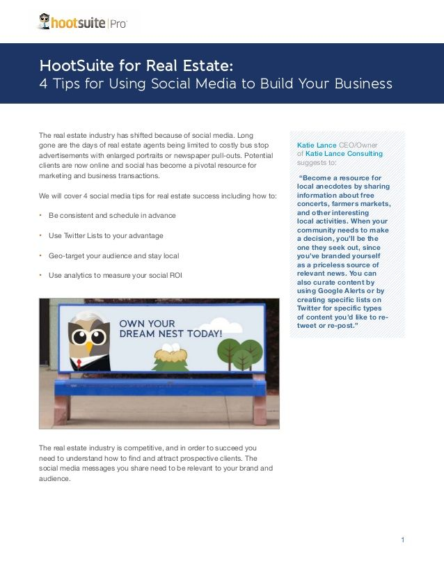 HootSuite for Real Estate Agents - A HootSuite Industry Sheet by Hootsuite via slideshare #GoSocialWithMarki