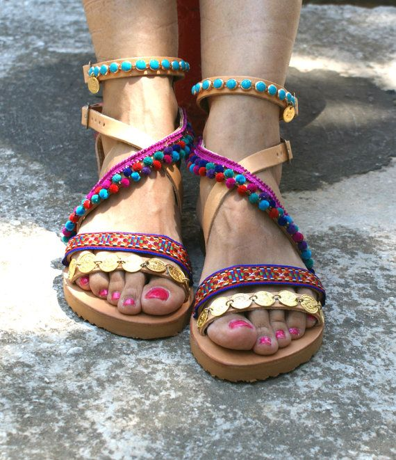 boho sandals/ pom pom sandals/ leather samdals/ by magosisters