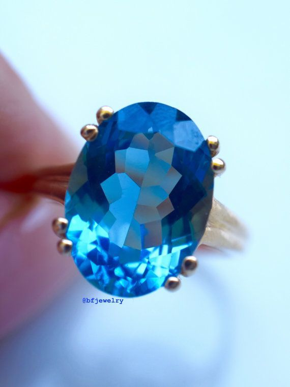 Oval London Blue Topaz Solitaire Ring by BFJewelryEst1984 on Etsy