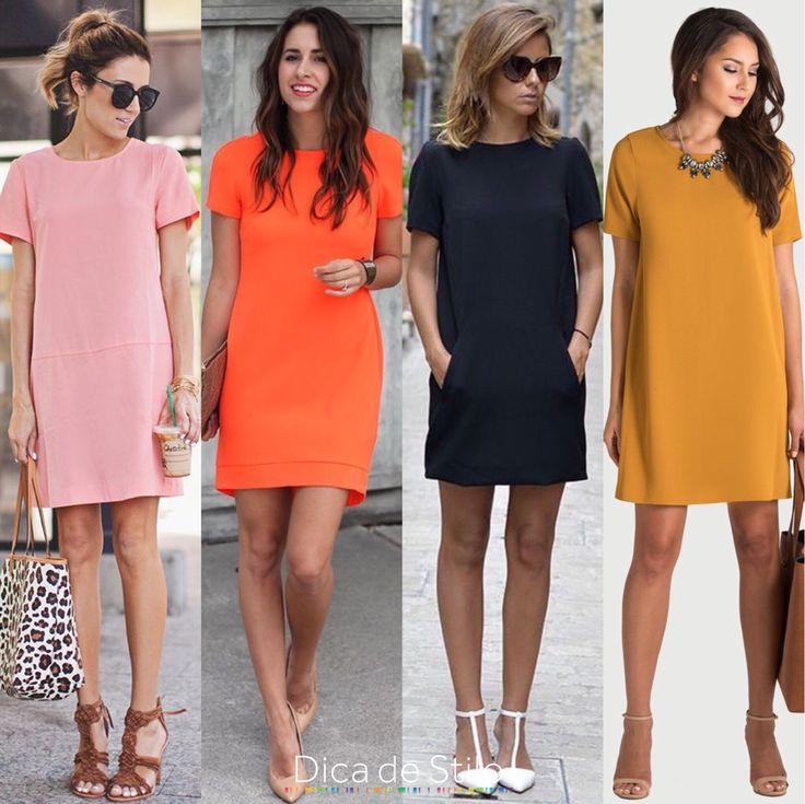 Vestidos confortáveis, elegantes, coloridos e animados! Um vestido de manga curta soltinho pode ser um ótimo companheiro no armário! É uma peça que valoriza to