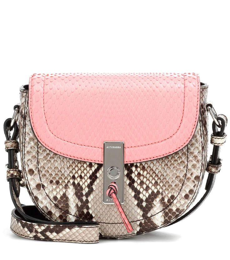 Ghianda Saddle Mini pink and grey snakeskin shoulder bag