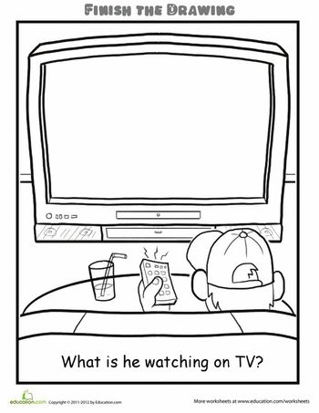Worksheets: Finish the Drawing: What is he Watching on TV?
