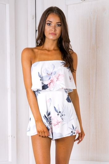 Kate strapless playsuit - Pink & Grey $59.95