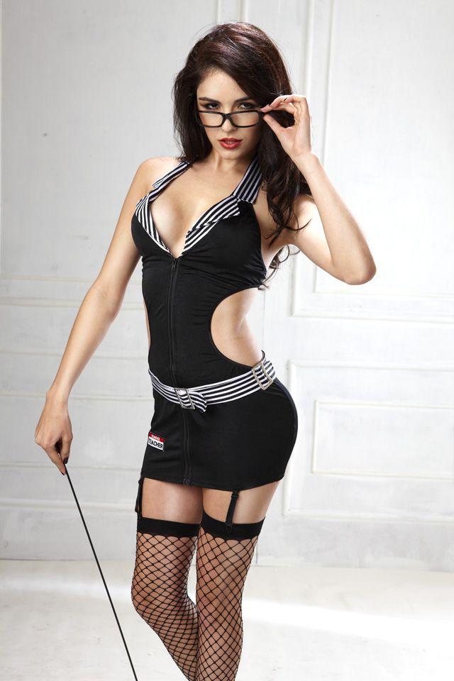Spicy Teacher Costume Dress Features V Neckline, Stripes -4326
