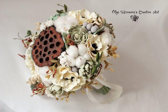 SALE! Boho Rustic Bridal bouquet Wedding bouquet Winter bouquet Succulents Cotton Ivory bouquet Keepsake Natural look bouquet Ready to ship