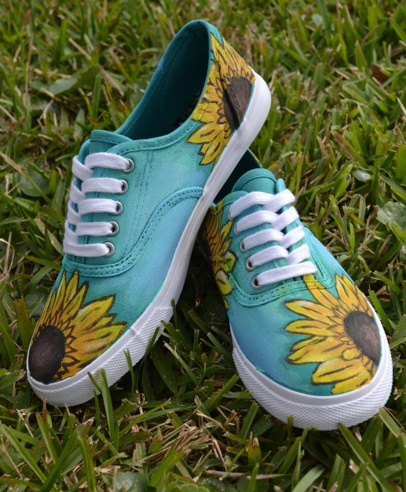 Hand Painted Sunflower Shoes by KdPaint on Etsy, $55.00
