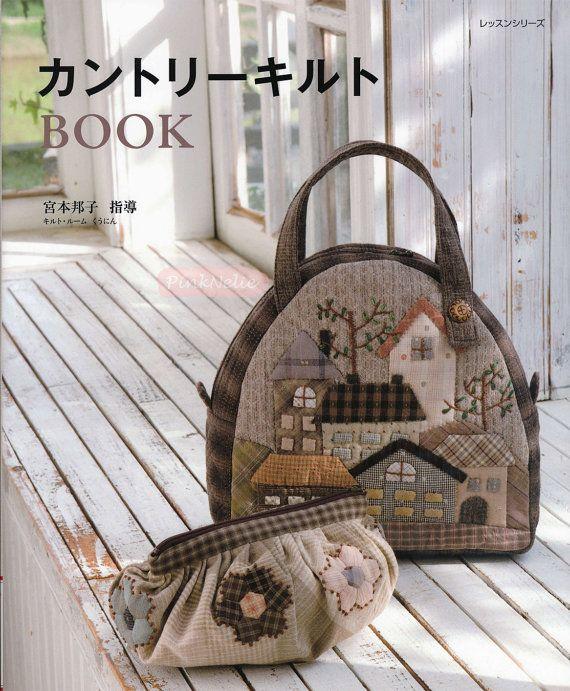 Versión revisada - Miyamoto Kuniko - país estilo Patchwork japonés del libro arte 96 páginas Proyectos de patchwork Apliques bolsas, estera del