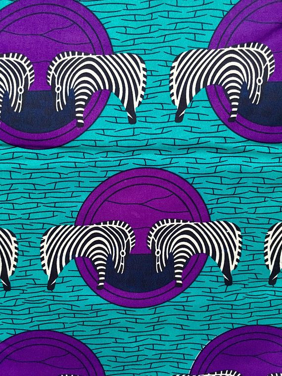 Print: Single-sided Material: Polycotton Width: 46 Texture: Not Waxed Main colors: Turquoise, Purple, Black, White FABRIC CUT: Purchase of 1+ yards per customer will be cut as 1 continuous piece of fabric up to a maximum length of 6 yard. MANUFACTURERs LABELS: All African fabric is sold with an adhesive Manufacturer label attached. For tips on how to remove, please watch this video: https://youtu.be/RAZ2NM9LxtM Please be aware that colors may appear slightly different from p...