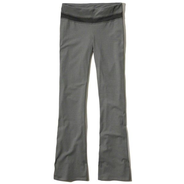 Hollister Foldover Jersey Yoga Pants (145 EGP) ❤ liked on Polyvore featuring activewear, activewear pants and grey