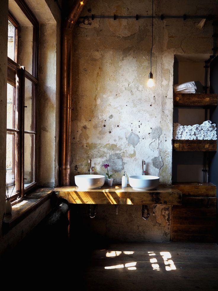 SPOTTED BY @soffamag | #soffa #soffamag #kavarnacohledajmeno #cafe #coffeehouse #Prague #bricks #industrial #urban #street #minimalism #minimalistic #design #interior #wood #handmade #DIY #bathroom #toilets #wall #towels #sun