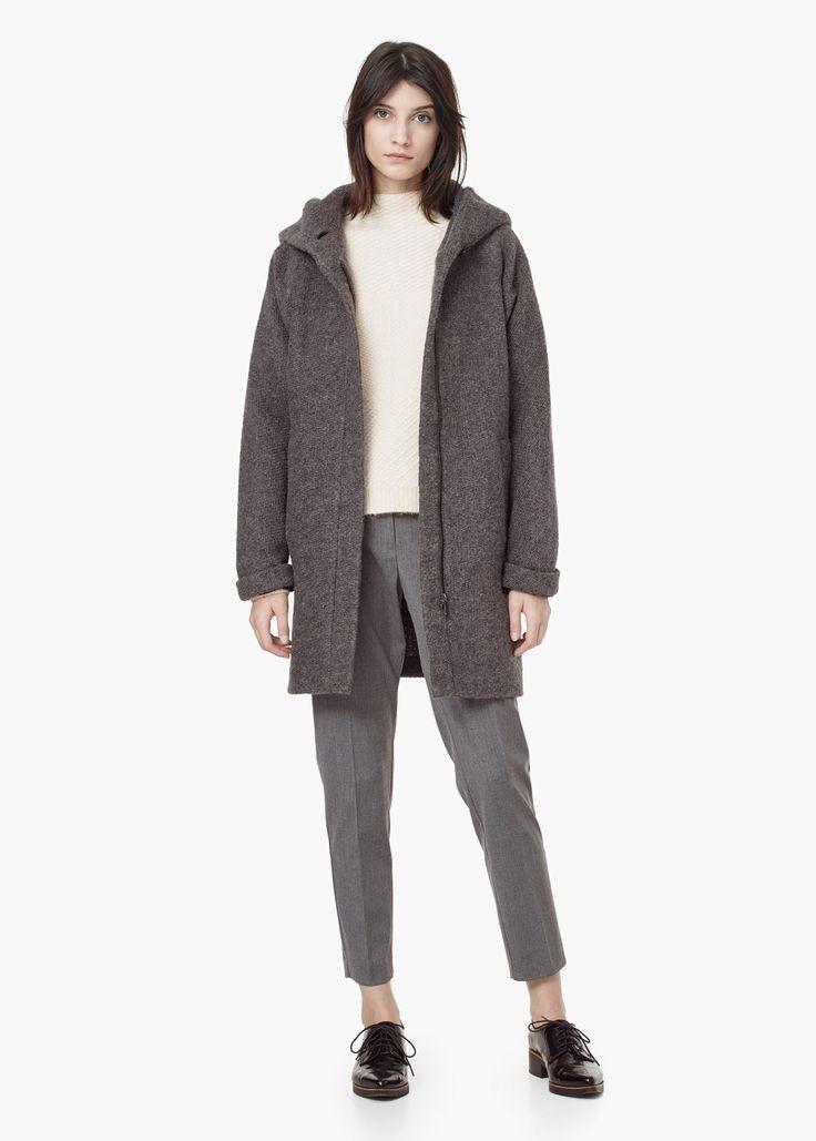 Manteau laine capuche -  Femme | MANGO