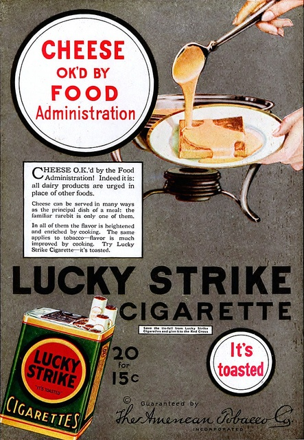 Lucky Strike Cigarette ad. What does cheese being ok'd by the FA have to do with cigarettes?