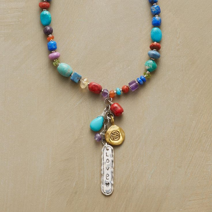 """INDEPENDENT SPIRIT NECKLACE -- Here's to style with an independent streak in a leather charm and gemstone necklace that combines knotted leather, brass and sterling silver charms and a medley of beads—lapis, turquoise, peridot, amethyst, apple coral, phosphosiderite and carnelian. USA. Exclusive. 34""""L."""