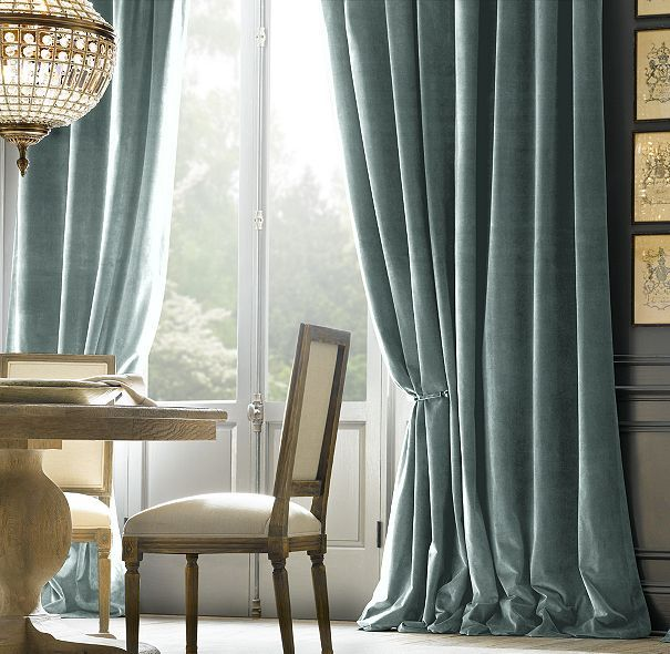 Charcoal walls and teal velvet drapes in dining room could for Restoration hardware silk curtains