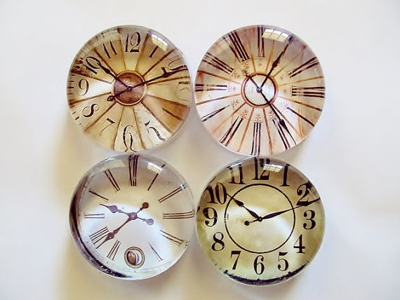 Large Glass Magnets   Set of 4 Clocks by InspirationsbyD on Etsy, $14.95
