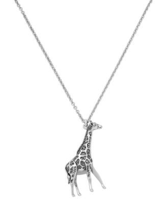 Fossil Necklace, Silver Tone Giraffe Pendant - Fashion Jewelry - Jewelry & Watches - Macy's