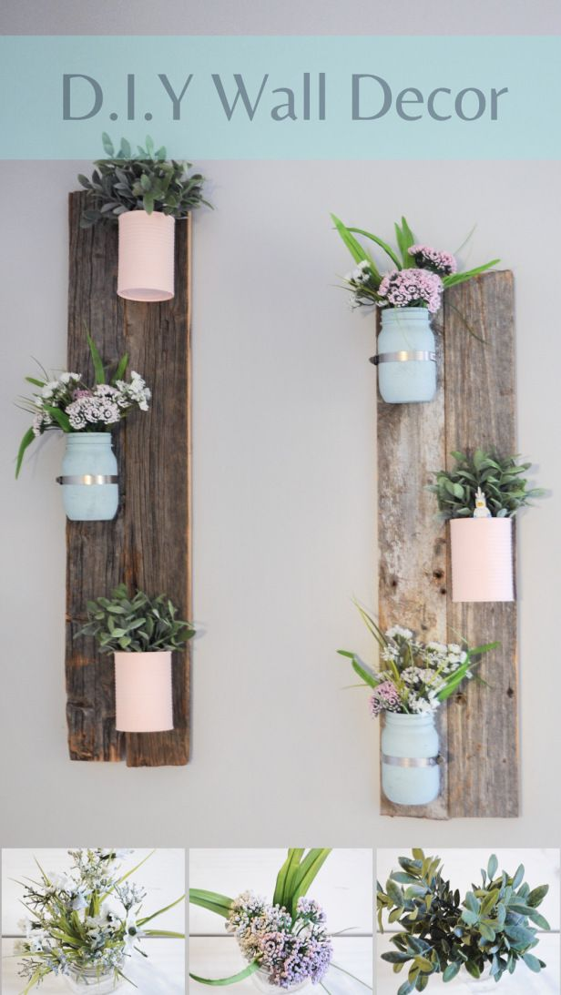 DIY Pallet wall decoration. Very easy DIY project to do with pretty flowers, mason jars, soup cans and pallet or barn wood