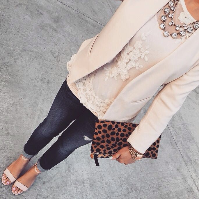 Denim, cream, blush... and leopard!? Love!