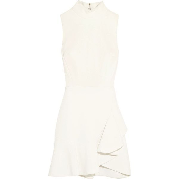 Elie Saab Ruffled stretch-crepe turtleneck mini dress (6,920 SAR) ❤ liked on Polyvore featuring dresses, turtleneck dress, white ruffle dress, white dress, day party dresses and white mini dress