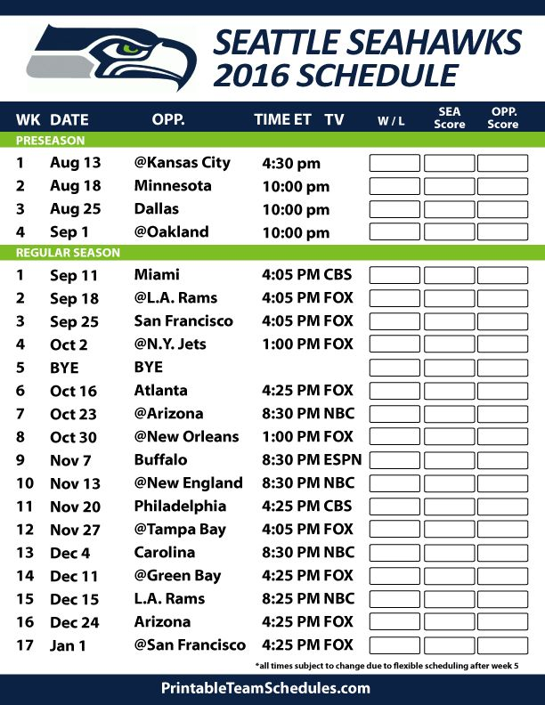 Seattle Seahawks Football Schedule. Print Schedule Here - http://printableteamschedules.com/NFL/seattleseahawksschedule.php