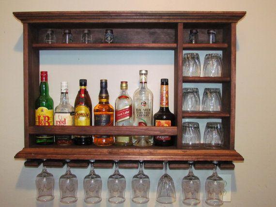 Mini Bar, wall mounted wine rack, red mahogany stain,  3' x 2' liquor cabinet