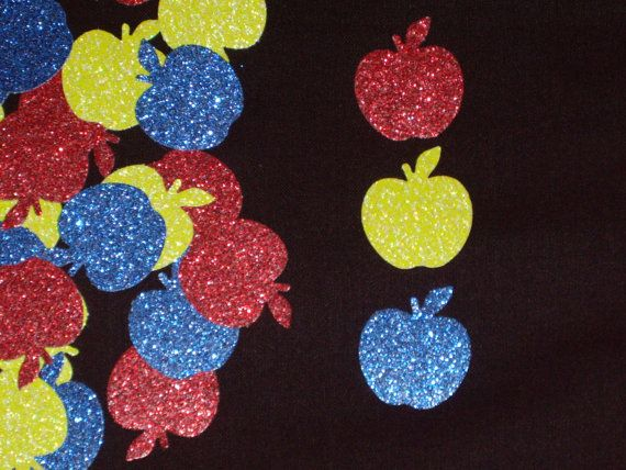You could create glittered apples by bringing glittery looking card stock paper to the library and using the die-cut to cut out the apple.