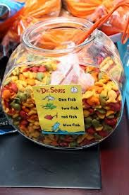 Gold fish crackers inside gold fish bowl with net scooper ;)   ----  minus the dr seuss sign - find out how to make fish net