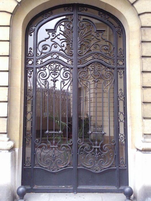 Porte en fer forg honfleur porte fer forgee pinterest porte en fer forg portes en fer - Porte fer forge exterieur ...