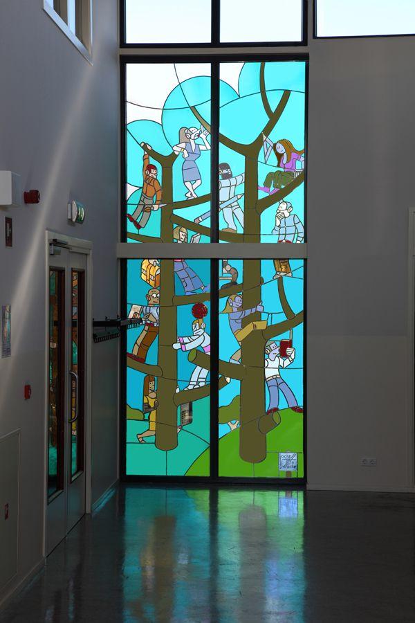 Joost Swarte - Stained glass - Christelijk Lyceum Haarlem - The Netherlands