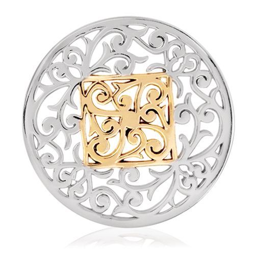 Nikki Lissoni Silver- tone 43mm Square Fantasy Coin