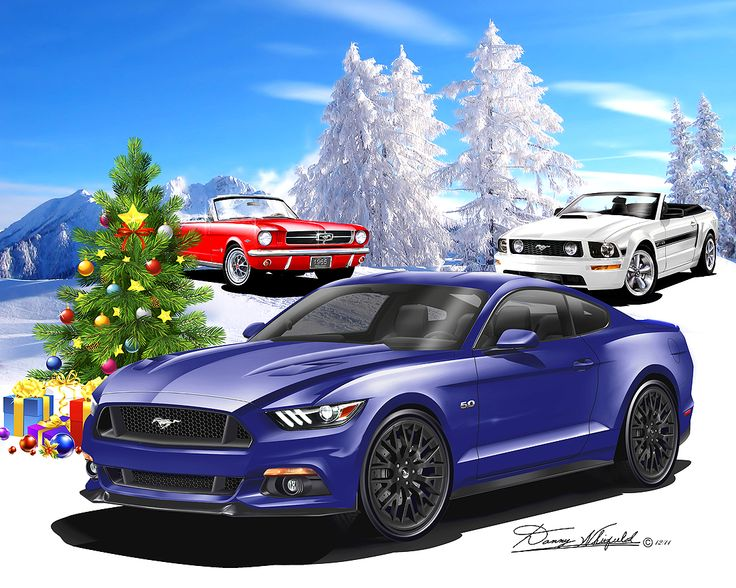 Ford Mustang say's Merry Christmas from the Automotive Art of Danny Whitfield!