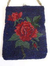 Starožitný viktoriánské Ruční Micro Skleněné kuličky Peněženka Roses