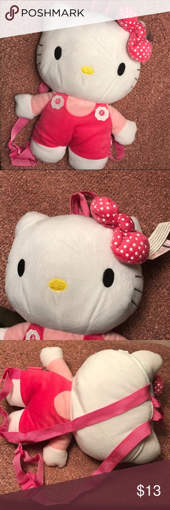 Hello Kitty Plush Backpack Tags still attached, never used, Hello Kitty Plush Backpack. Adjustable straps, zipper works👍🏽 very soft ! Hello Kitty Bags Backpacks