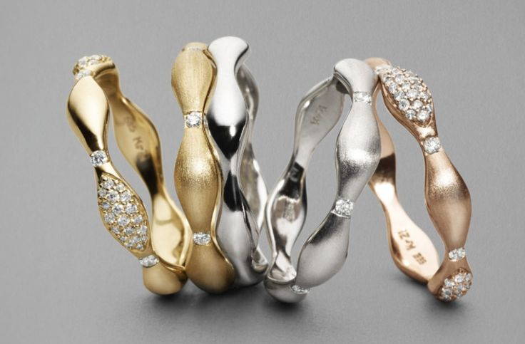 Mix gold, satin, shiny yellow, rosa gold and white gold