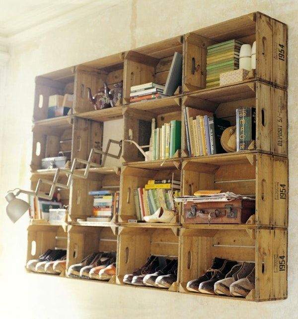 Wunderbare Ideen Regal Aus Kisten Und Diy Fur Schuhe Holzkisten