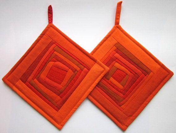 Handmade Patchwork Orange Pot Holders, Patchwork Potholder, Quilted Pot Holders, Quilted Potholders, Hot Pads, Set of 2