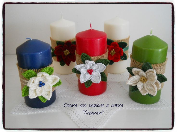 Candele decorate ad uncinetto #creareconpassioneeamorecreazioni #candele #Christmascandles #christmasdecorations #natale #crochet