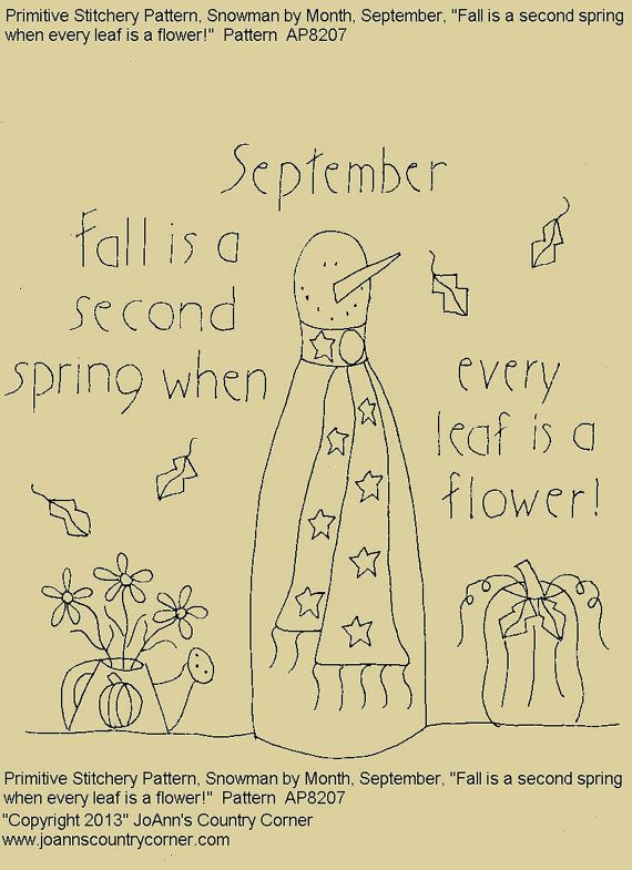 """Primitive Stitchery E-Pattern Rolling Pin Snowman by Month """"September"""", """"Fall is a second spring when every leaf is a flower."""" on Etsy, $2.00"""