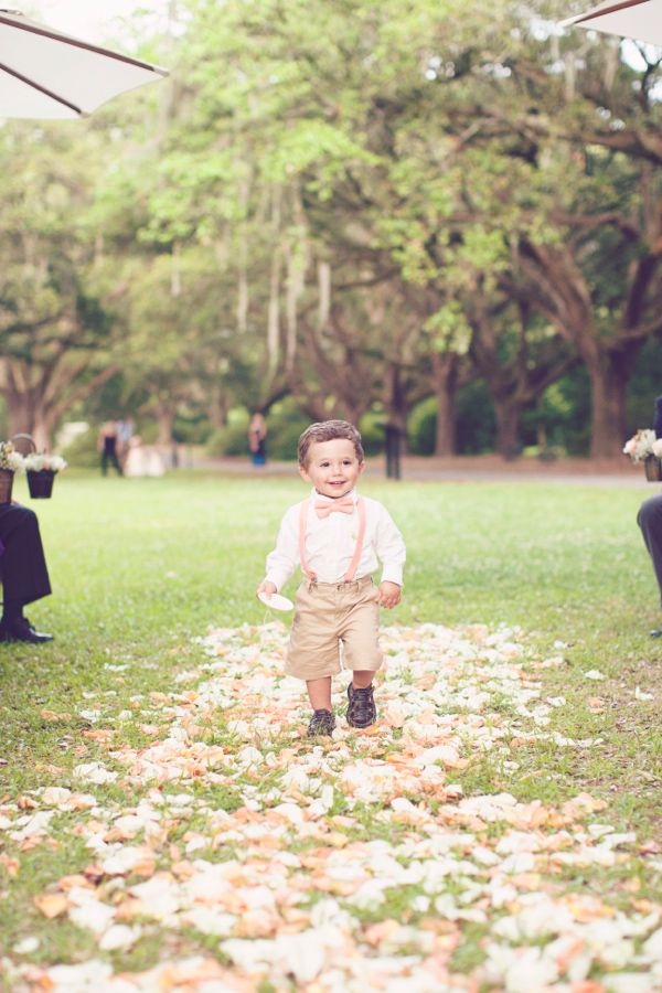 pink and peach ring bearer idea http://www.weddingchicks.com/2013/09/27/pink-and-cream-wedding/