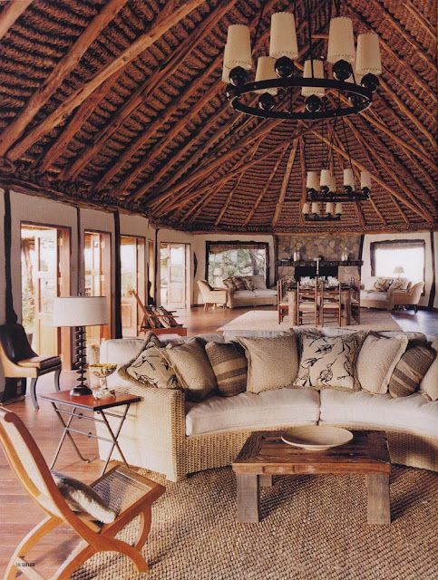 """African safari resort style interior with touches of """"Lioness"""" tan."""