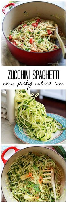 My family loves zoodles cooked with this trick! This zucchini noodle recipe with white beans and tomatoes is so delicious and an easy one-pot dinner! Vegetarian and vegan friendly.