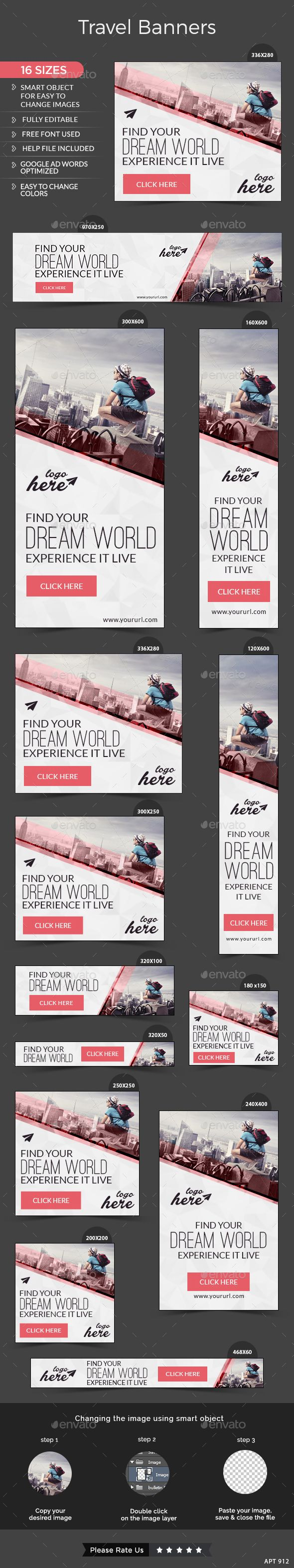 Travel Web Banners Template #design #ads Download: http://graphicriver.net/item/travel-banners/13092944?ref=ksioks