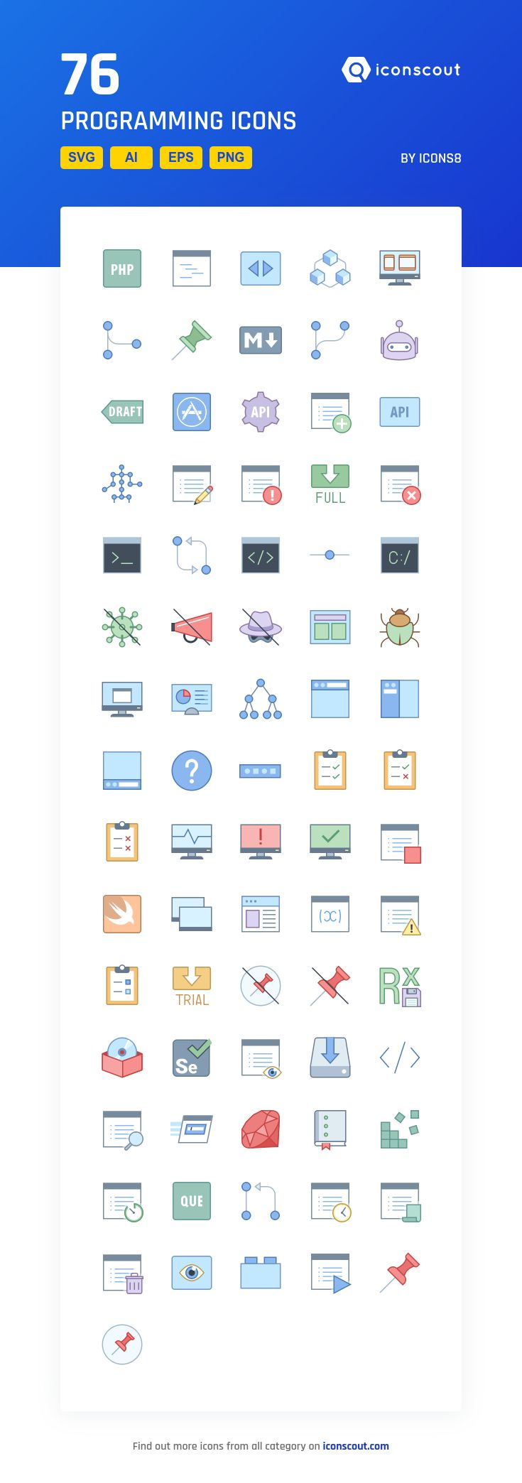 Programming   Icon Pack - 76 Filled Outline Icons