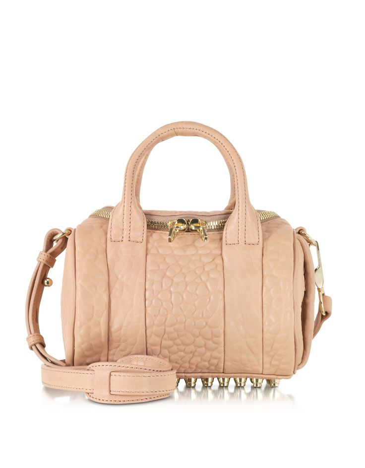 Alexander Wang Mini Rockie Blush Pebbled Leather w/Pale Gold Studs at FORZIERI