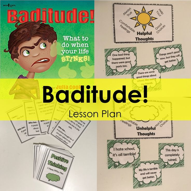 """School Counseling Lesson Plan for """"Baditude!"""" - positive attitude and helpful thinking"""