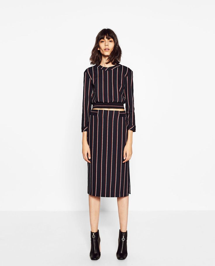 Zara striped top and matching skirt