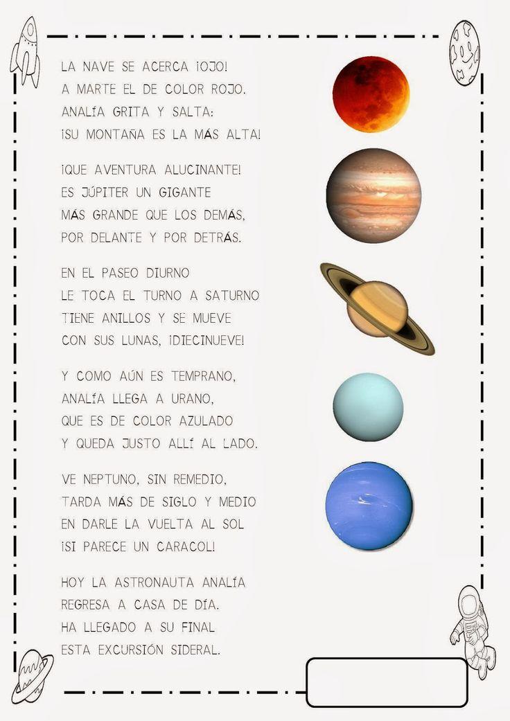 Aquí os dejo una recopilación de fichas que he ido recopilando y adaptando para trabajar en el aula el universo, los planetas, el espacio,.....